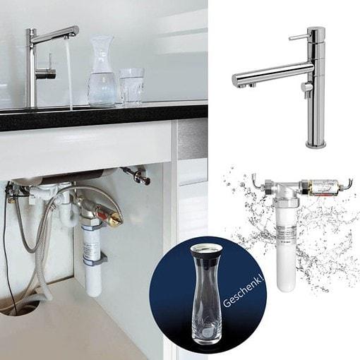 Trinkwasserfilter 3-Wege-Wasserhahn gesundes Wasser Zuhause Mineralwasser perma-trade