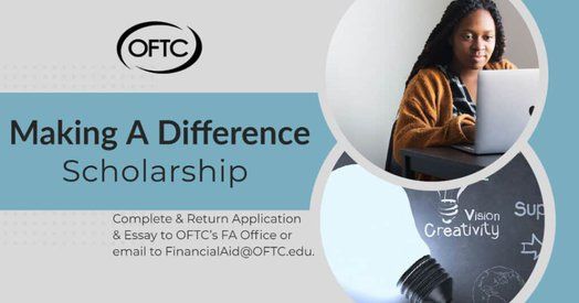 oftc logo; making a difference scholarship; person on computer