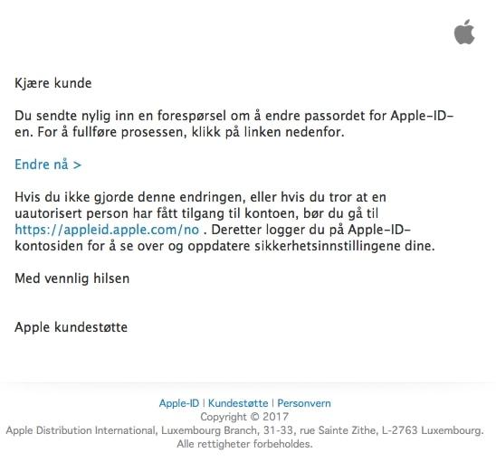 Eksempel på phishing-e-post som utgir seg for å komme fra Apple
