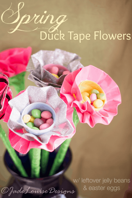 Busy Creating Memories~ Spring Duck Tape Flowers with Easter Eggs https://whynotmom.combusycreatingmemories.com/spring-flowers-craft/