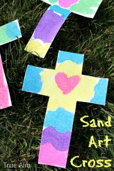 Sand Art Cross by https://whynotmom.com.trueaimeducation.com/sand-cross-craft/