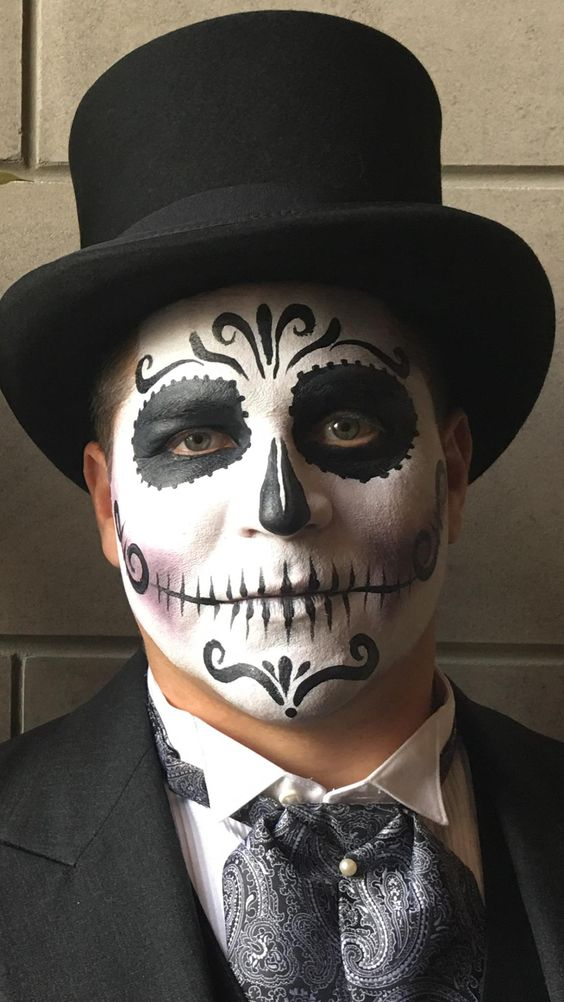 Maquillaje calavera mexicana hombre-maquillaje-calavera-catrin