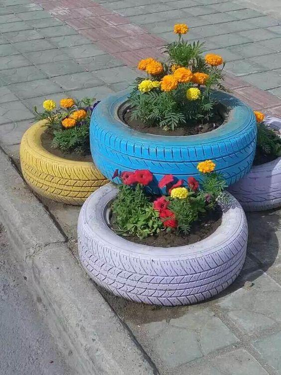pot bunga dari ban