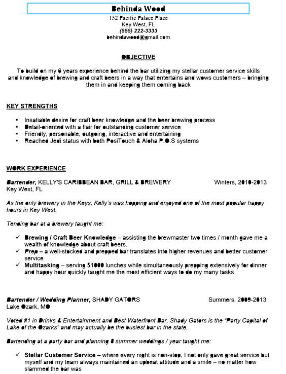 sample bartender resume
