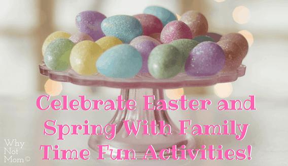 glitter covered Easter eggs on a glass cake platter spring table decor
