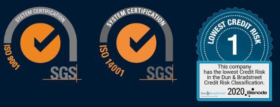 SIO9001, ISO14001, Bisnode Lowest credit risk
