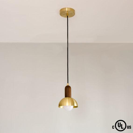hemisphere pendant light walnut and brass dome pendant light