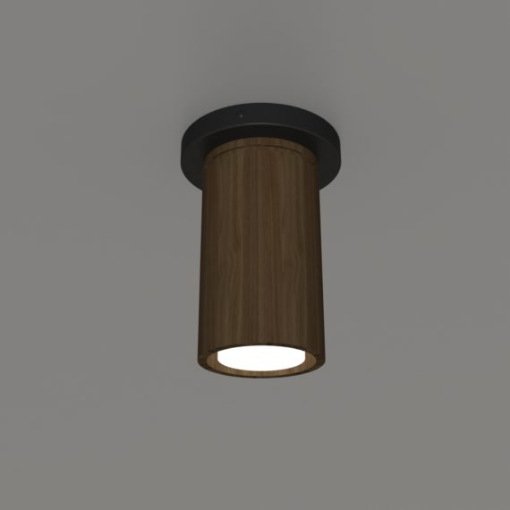 walnut flushmount light, shown with black metal ceiling canopy - perfect for restaurant flushmount light, commercial lighting applications
