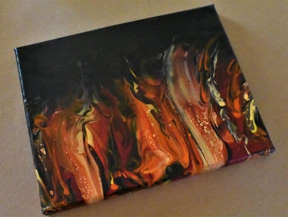 Completed Bright Fire Painting Swipe Technique