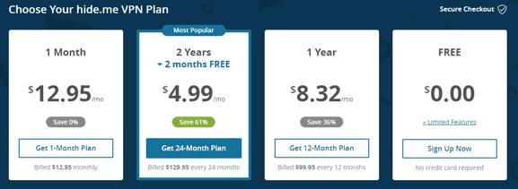 Hide.me VPN subscription prices