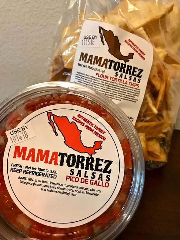 image of Mama Torrez pico de gallo and flour tortilla chips