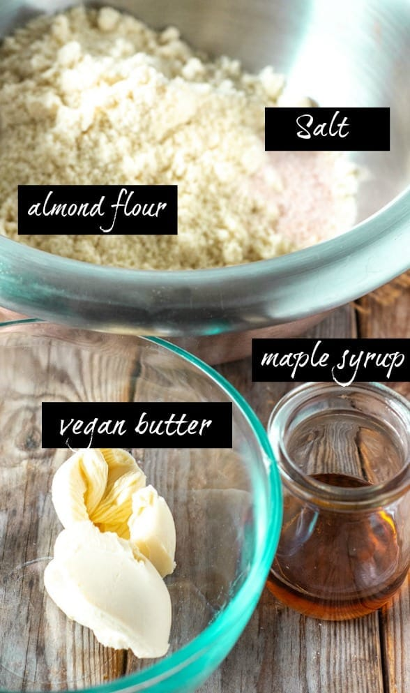 Almond flour pie crust infographahic with almond flour,l salt, vanilla, maple syrup