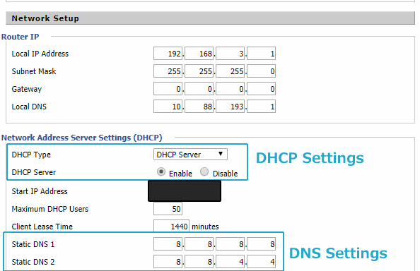 DDWRT DHCP and DNS Settings