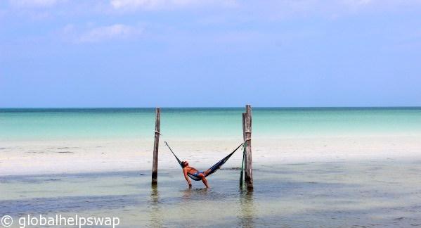 Isla Holbox hammocks in the sea