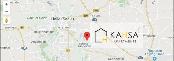 Karte zeigt die top Lage von KAHSA Apartments in Halle Saale
