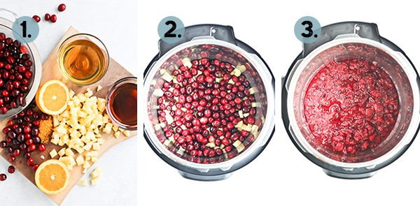 step by step collage of how to make cranberry sauce in a pot