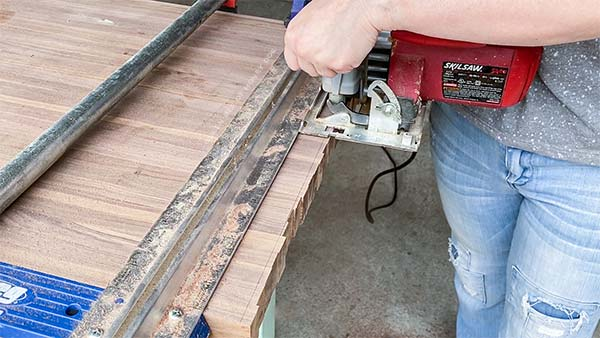 trimming the ends of large cutting board