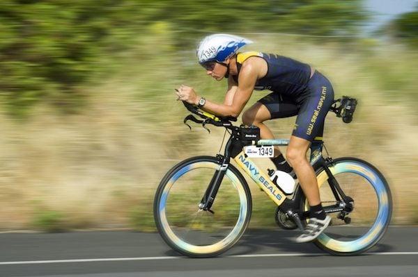 A Navy Seal on a triathlon bike
