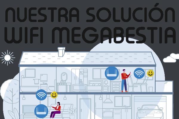 Imagen Wifi Megabestia, descripción sistema Wifi Megabestia con tecnología mesh con cobertura en el 100% la vivienda