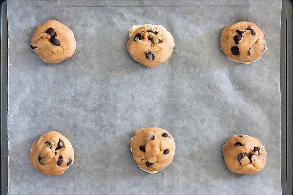 Frozen Cookie Dough on baking sheet