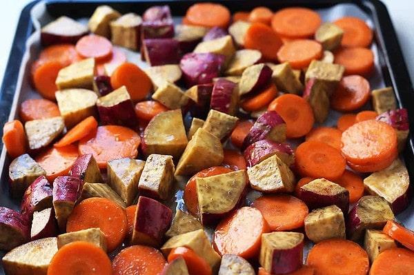 Vegetables on Baking Sheet