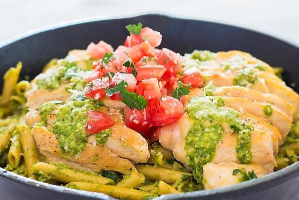 Pesto Chicken Pasta Close-up