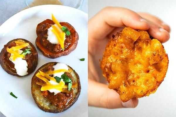 Chili Potato Bites and Chili mac cups