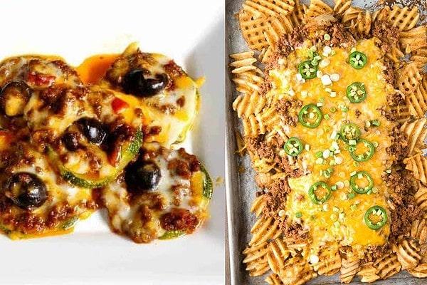 Chili zucchini nachos and chili cheese fries