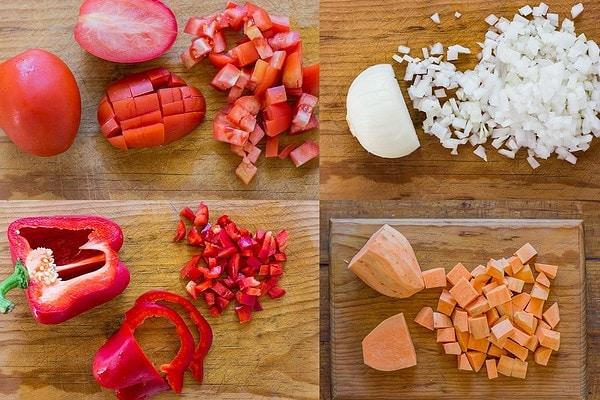 Diced Vegetables for Vegan Chili