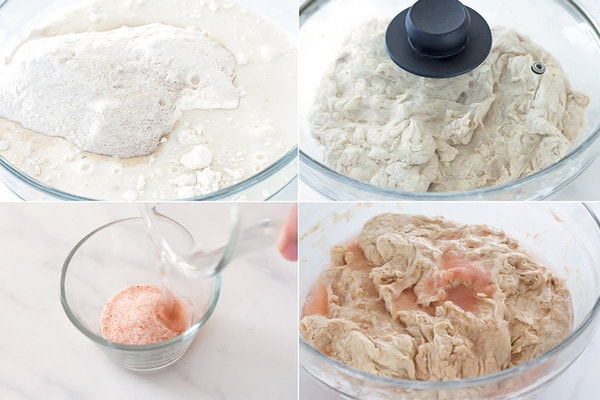 Mixing sourdough, autolyse dough, dissolving and adding salt