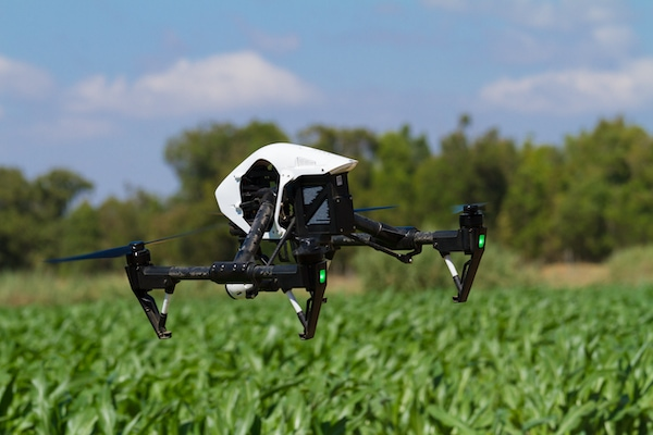 Drone Hovering Over Agriculture