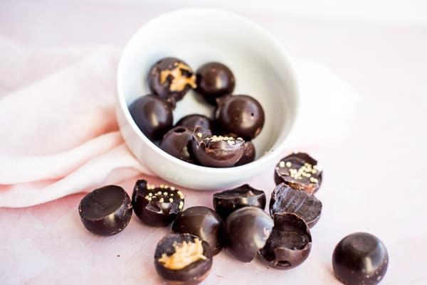 Dark chocolates in a white bowl