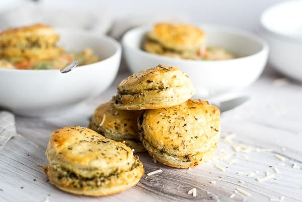 PIle of pesto puff pastry biscuits