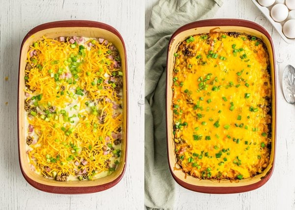 Breakfast Hash Brown Casseroles before and after baking