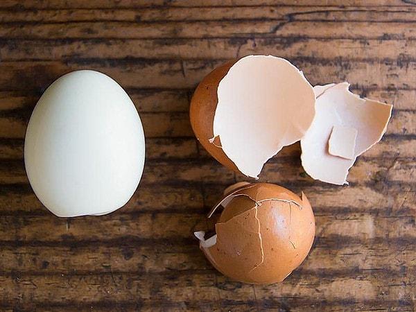One Peeled Hard Boiled Egg