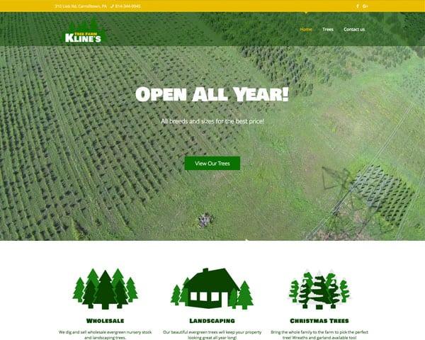 Screenshot of Kline's Tree Farm website
