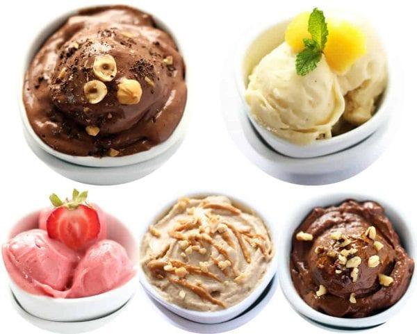 Five Different Nice Cream Flavors