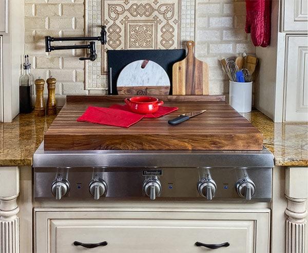 walnut cutting board cooktop cover