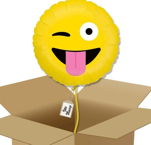 Bouquet De Ballons Livraison Ballon Surprise Rond Emoji clin d'œil - Smiley farfelue - 36593 box