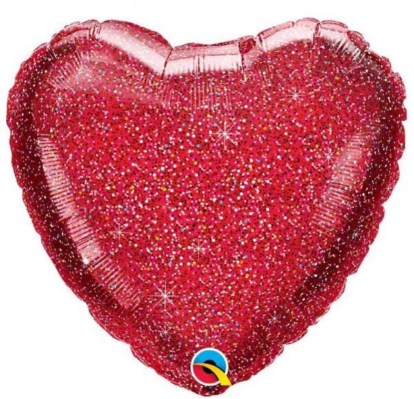 Ballon coeur rouge pailleté.