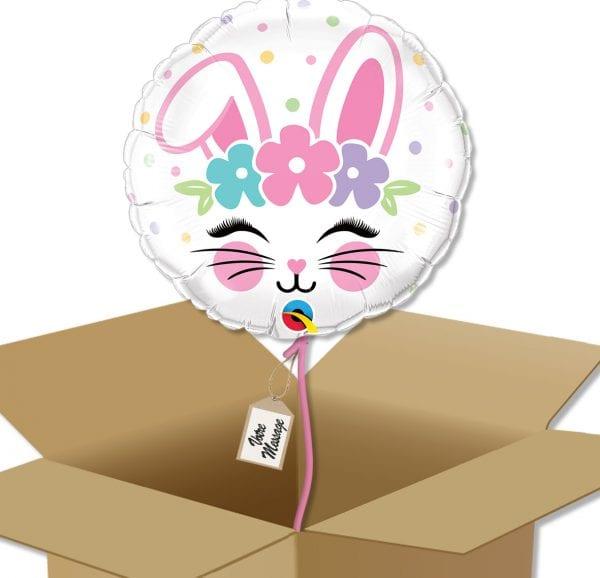 Ballon rond Tête de lapin à envoyer dans sa boite cadeau