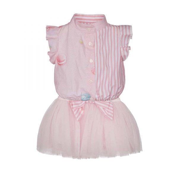 Roze blousejurk met tule rok en macarons Lapin House