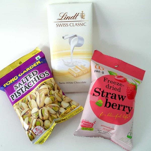 Pistachios, White Chocolate, Freeze-dried Strawberries