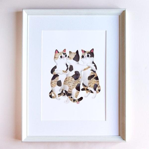 Las tres gracias, Rubens, Museo del Prado, ilustracion de gatos, comprar ilustracion de gatos,