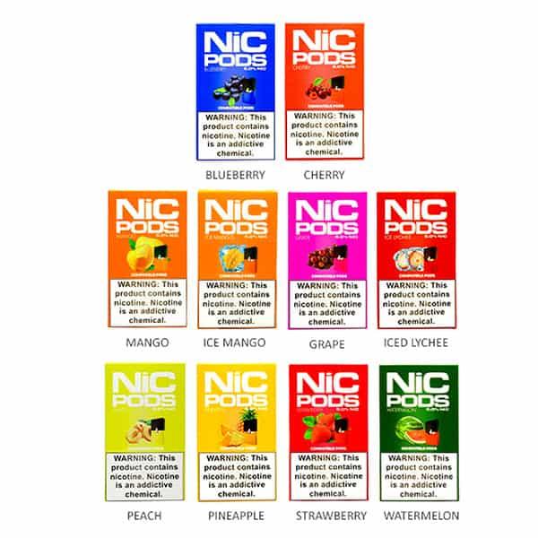 Nic-pods(ニックポッド)ニコチン入JUUL互換ポッド人気のピーチ味をはじめフルーツをメインとした豊富なフレーバーはなんと10種類!アメリカから日本へ個人輸入!