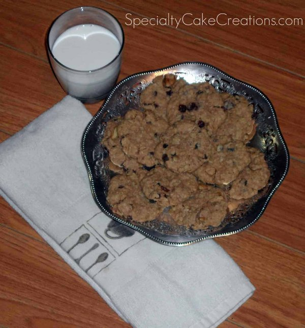 Silver Bowl of Oatmeal Cookies