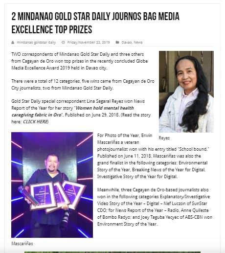 Media Award Winners - Lina Reyes, Erwin Mascarinas