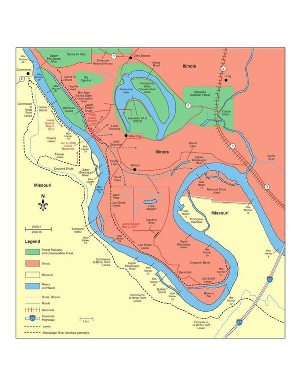 Map of Dogtooth Bend and surrounding area.