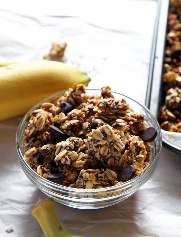 Healthy Roasted Banana Coconut Granola
