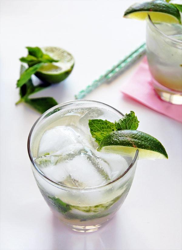 Mojito Mocktail with Rhubarb